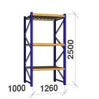 Startsektion 2500x1260x1000 450kg/hyllplan,3 hyllor, zinkplåt