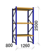 Startsektion 2500x1260x800 450kg/hyllplan,3 hyllor, spånskiva