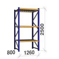 Startsektion 2500x1260x800 450kg/hyllplan,3 hyllor, zinkplåt