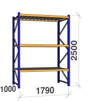 Startsektion 2500x1790x1000 360kg/hyllplan,3 hyllor, zinkplåt