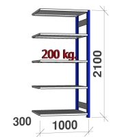 Laoriiul lisaosa 2100x1000x300 200kg/riiuliplaat,5 plaati, sinine/Zn