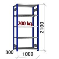 Laoriiul põhiosa 2100x1000x300 200kg/riiuliplaat,5 plaati, sinine/helehall