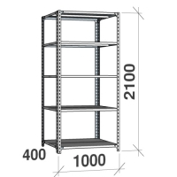 Angle shelf 2100x1000x400, 5 levels,120kg/level, gray