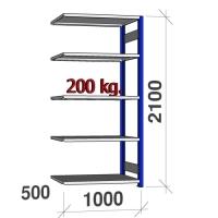 Laoriiul lisaosa 2100x1000x500 200kg/riiuliplaat,5 plaati, sinine/helehall