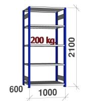 Laoriiul põhiosa 2100x1000x600 200kg/riiuliplaat,5 plaati, sinine/helehall