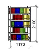 Arkivhylla startsektion 2100x1170x300 200kg/hyllplan,6 hyllor