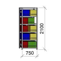 Arkivhylla startsektion 2100x750x300 200kg/hyllplan,6 hyllor