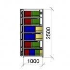 Arhiiviriiul põhiosa 2500x1000x400 150kg/riiuliplaat,7 plaati