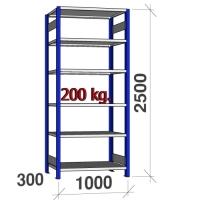 Laoriiul põhiosa 2500x1000x300 200kg/riiuliplaat,6 plaati, sinine/helehall