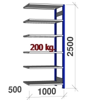 Laoriiul lisaosa 2500x1000x500 200kg/riiuliplaat,6 plaati, sinine/helehall