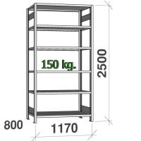 Laoriiul põhiosa 2500x1170x800 150kg/riiuliplaat,6 plaati