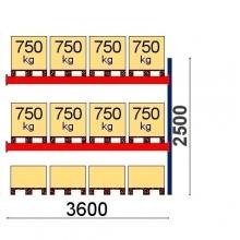Pallställ följesektion 2500x3600 750kg/12 pallar OPTIMA