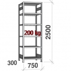 Laoriiul põhiosa 2500x750x300 200kg/riiuliplaat,6 plaati