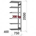 Laoriiul lisaosa 2500x750x400 200kg/riiuliplaat,6 plaati