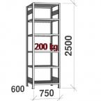 Laoriiul põhiosa 2500x750x600 200kg/riiuliplaat,6 plaati