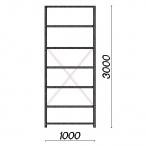 Laoriiul põhiosa 3000x1000x600 150kg/riiuliplaat,7 plaati