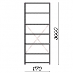 Starter bay 3000x1170x300 200kg/shelf,7 shelves