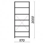 Laoriiul põhiosa 3000x1170x300 200kg/riiuliplaat,7 plaati