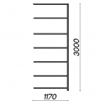 Extension bay 3000x1170x300 200kg/shelf,7 shelves