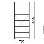 Laoriiul põhiosa 3000x750x600 200kg/riiuliplaat,7 plaati
