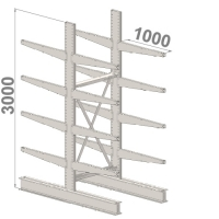 Grenställ startsektion 3000x1000x2x1000,16 x arm