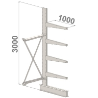 Grenställ följesektion 3000x1000x1000,4 x arm