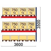 Kaubaaluse riiul lisaosa 3500x3600 750kg/alus,12 alust OPTIMA
