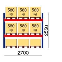 Kaubaaluse riiul põhiosa 2550x2700 580kg/alus,9 alust