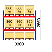 Kaubaaluse riiul põhiosa 2550x3300 860kg/alus,9 alust