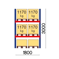 Kaubaaluse riiul põhiosa 3000x1800 1170kg/alus,6 alust