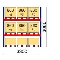 Kaubaaluse riiul põhiosa 3000x3300 860kg/alus,9 alust