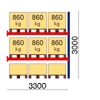 Kaubaaluse riiul lisaosa 3000x3300 860kg/alus,9 alust