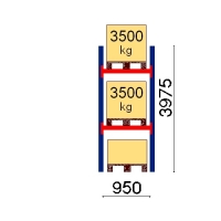 Kaubaaluse riiul põhiosa 3975x950 3500kg/alus,3 alust