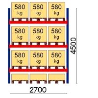 Kaubaaluse riiul põhiosa 4500x2700 580kg/alus,12 alust