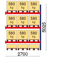 Kaubaaluse riiul lisaosa 5025x2700 580kg/alus,12 alust