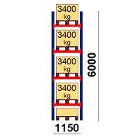 Kaubaaluse riiul põhiosa 6000x1150 3400kg/alus,5 alust