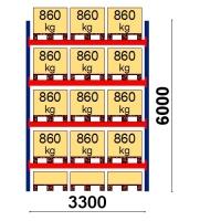 Kaubaaluse riiul põhiosa 6000x3300 860kg/alus,15 alust