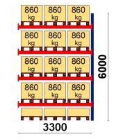 Kaubaaluse riiul lisaosa 6000x3300 860kg/alus,15 alust