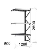 Metallriiul lisaosa 2500x1200x500 600kg/tasapind, 3 tsinkplekk tasapinda
