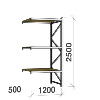 Extension bay 2500x1200x500 600kg/level,3 levels with chipboard
