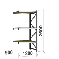 Extension bay 2500x1200x900 600kg/level,3 levels with chipboard
