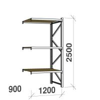 Metallriiul lisaosa 2500x1200x900 600kg/tasapind,3 puitlaast tasapinda