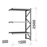 Extension bay 2500x1500x500 600kg/level,3 levels with steel decks
