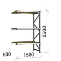 Extension bay 2500x1500x500 600kg/level,3 levels with chipboard