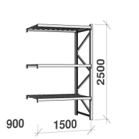 Extension bay 2500x1500x900 600kg/level,3 levels with steel decks