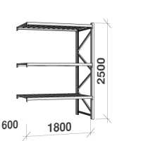 Extension bay 2500x1800x600 480kg/level,3 levels with steel decks