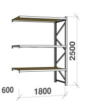 Extension bay 2500x1800x600 480kg/level,3 levels with chipboard