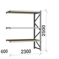 Extension bay 2500x2300x600 350kg/level,3 levels with chipboard