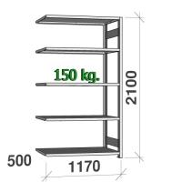 Extension bay 2100x1170x500 150kg/shelf,5 shelves
