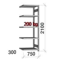 Extension bay 2100x750x300 200kg/shelf,5 shelves